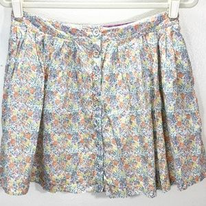 Free People Skirt Multi Color FloraL Button Skirt